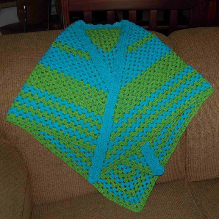 Blue and green prayer shawl in granny square stitch with scalloped border; 12.28.17