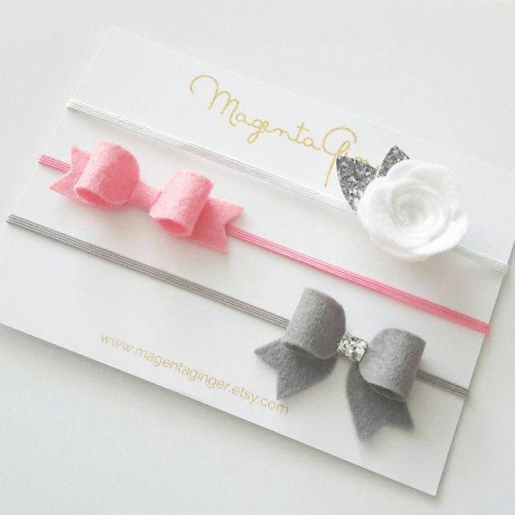 Baby/Girl Felt Bow Skinny elastic headband hair by MagentaGinger