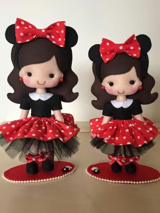 Boneca vestida de minnie feltro by melisa
