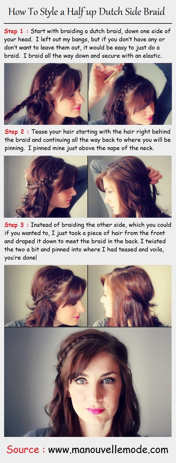 How To Style A Half Up Dutch Side Braid  Pintutorials