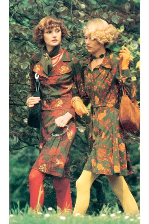 Vogue Italia 1973, Jeanloup Sieff. Love the dresses AND the hair!!!