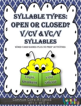 This packet includes an exclusive list of 202 open and closed 2-syllable words.  There are no r-controlled vowels, no silent e words, no vowel digraphs or diphthongs.  This means you won't have to use resources with words containing syllable types your students have not learned yet!