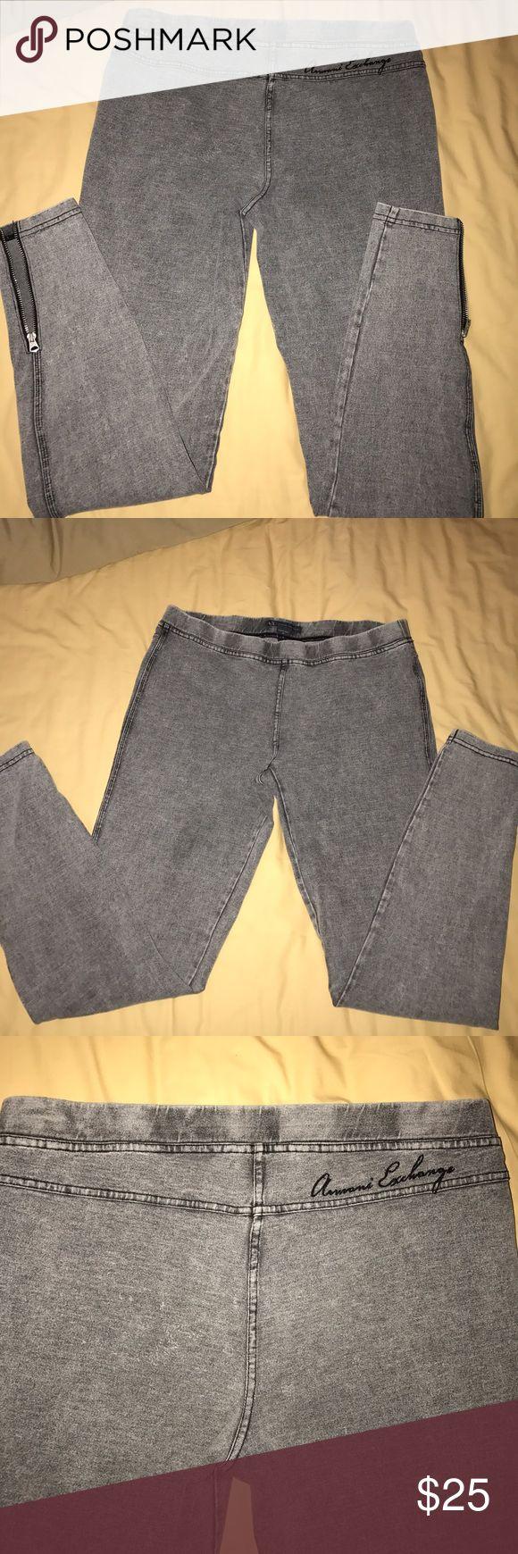 Armani Exchange zip leggings Gently worn Armani Exchange zipper leg leggings. A/X Armani Exchange Pants Leggings