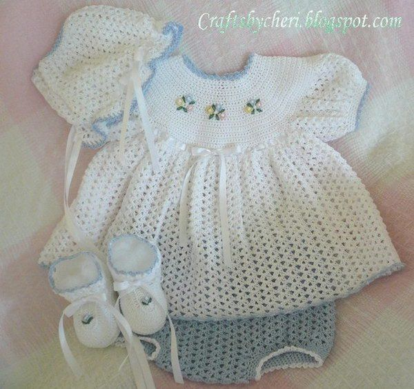 Newborn Size Dress, Panties, Booties, Bonnet.