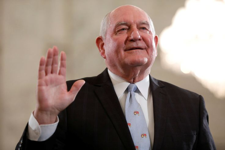 Tractor Tie And All Sonny Perdue, who was nominated to be secretary of agriculture, is sworn in at his confirmation hearing before the Senate Agriculture Committee on March 23, 2017.