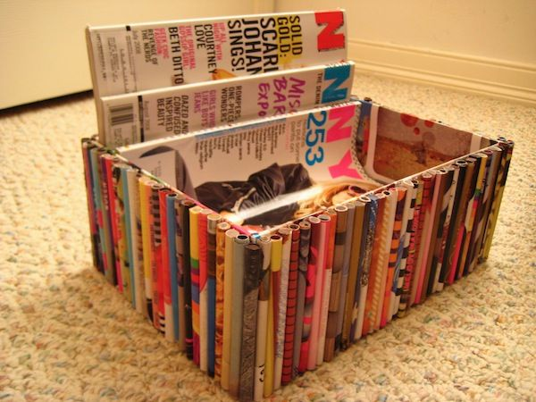 Repurpose your old magazines into a fun new box for...more magazines? Anything with a hot glue gun is a good time.