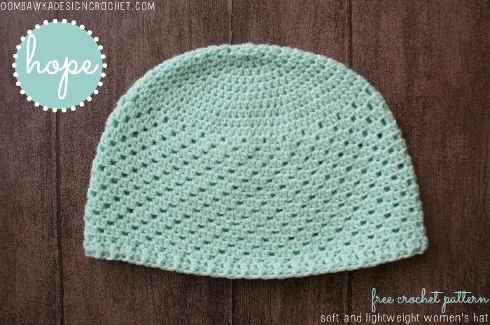 "Oombawka Design: Hope - Womens Hat. Free crochet pattern (23"" circumference). Sport weight yarn, 4.5mm hook."