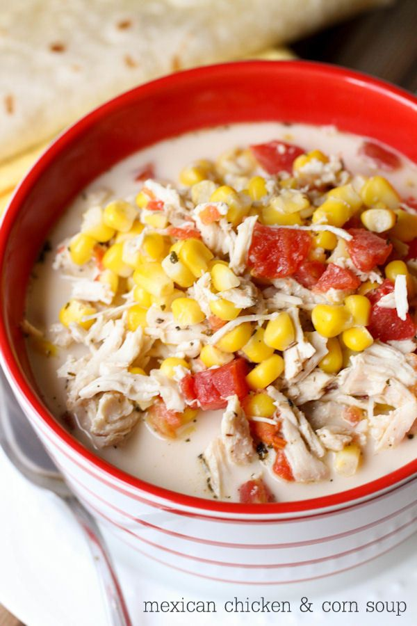 Super hearty and delicious Mexican Chicken and Corn Soup. Tastes like a Mexican casserole and is definitely a keeper recipe!