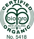 Our Biogro Certification, the leading organic certification in NZ.