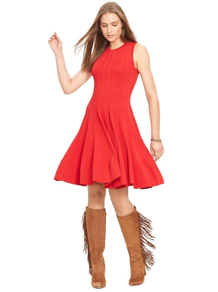 RALPH LAUREN. Red Jersey Fit \u0026 Flare Dress.