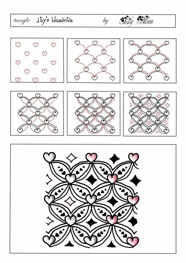 Lily's Valentine zentangle