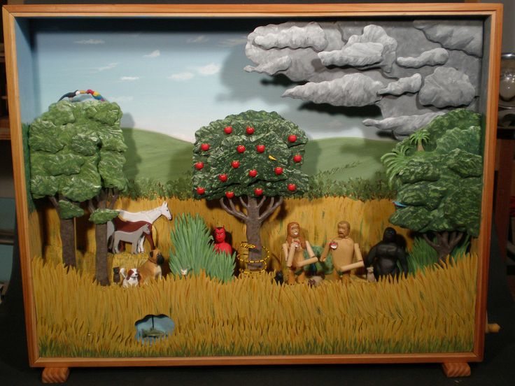 """24""""H x 30""""W x 5""""D 6'tall characters Eve turns back and forth between Adam and Tree-- Adam chews apple-- Gorilla shakes head to discourage eating apple-- Snake winds around tree-- Devil pops out from behind bush-- lightning strikes Adam-- Birds move in tree animals move fish moves in  pond"""
