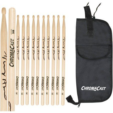 ChromaCast 5B USA Hickory Vinny Appice Autographed Drumsticks, 6 Pairs with Drumstick Bag