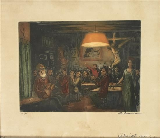 H. Tourneur (Fr 20th Century) Interior of the Lapin Agile Cabaret in Paris