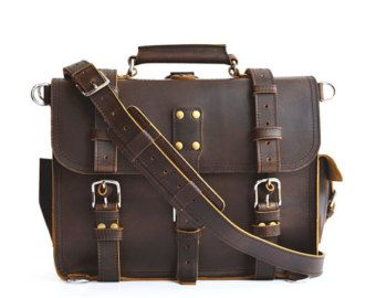 Leather Satchel Bag Leather Satchel Men Leather by SolidLeatherCo