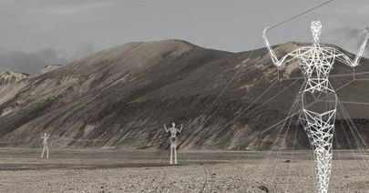 An architecture firm has proposed giant human-shaped pylons to carry electricity cables across the Iceland's landscape