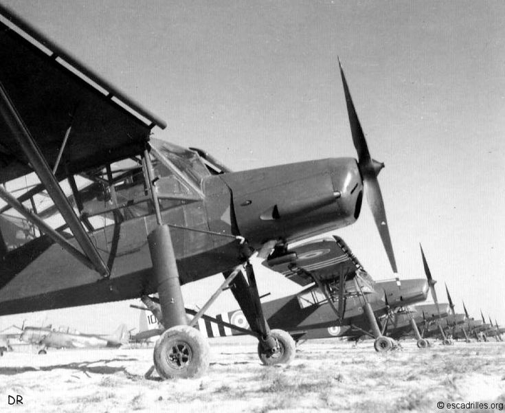 Fieseler Storch alias Morane 500 (of 3/33 Périgord, Cognac 1945?). Both during war under German orders, and for several years after war under licence Storches were built in France, and post war known as Criquets.