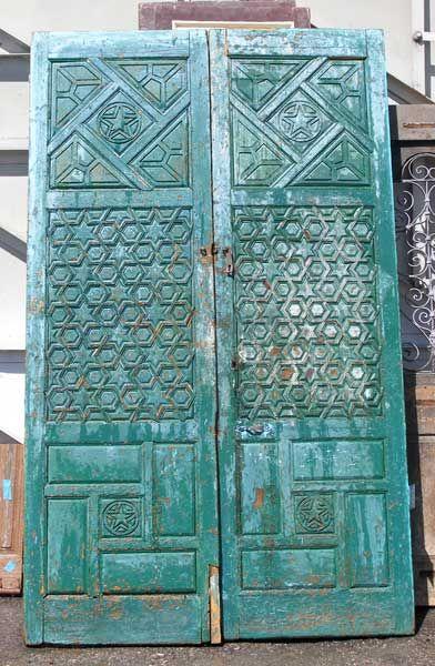 Moorish painted pine double door for Door in spanish
