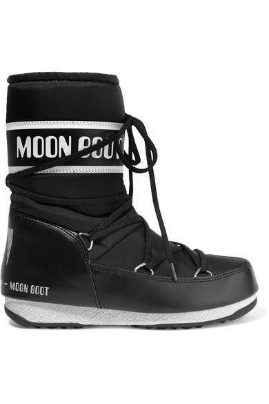 Moon Boot - Shell-piqué And Faux Leather Ski Boots - Black