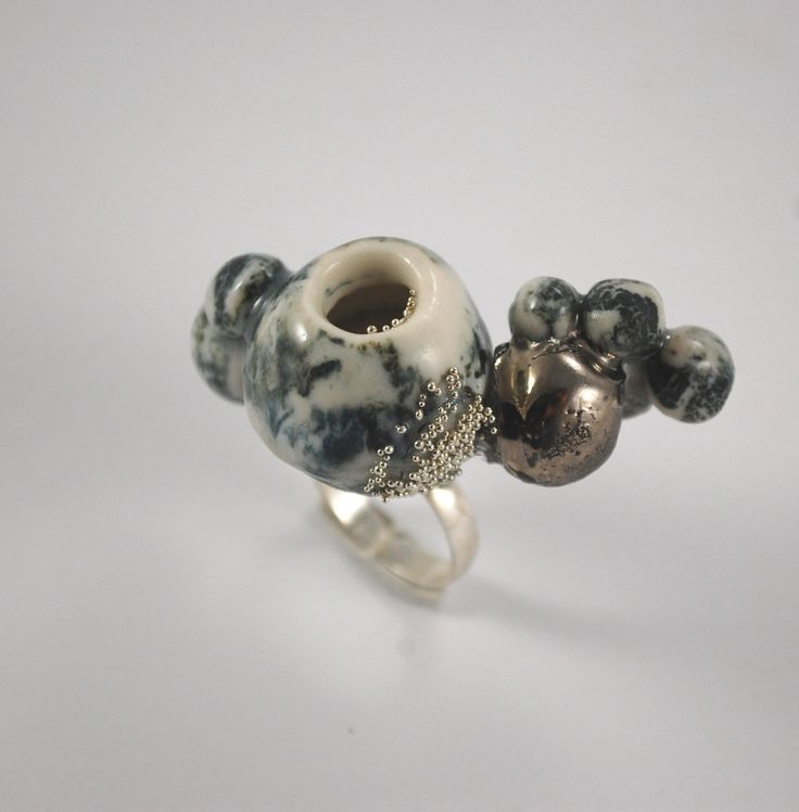 RING PORCELAIN, PLATINUM, SILVER, STEEL, HANDMADE UNIQUE