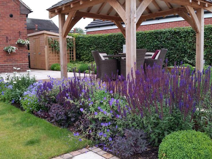 #gardendesign #staffordshire #cheshire #shropshire #gazebo #oakgazebo #decking #paving #plants #boxballs #englishgarden #plantcombinations #plantingdesign