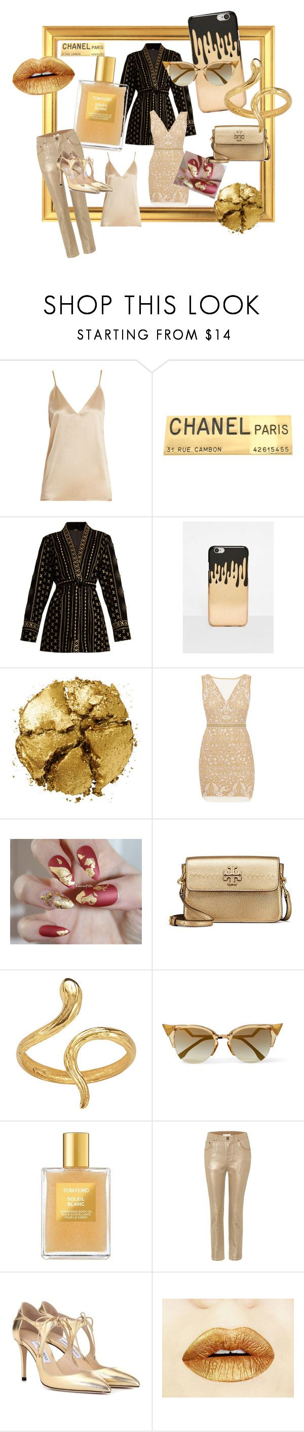 """""""gilded"""" by stephanie-frakes ❤ liked on Polyvore featuring Raey, Chanel, Dodo Bar Or, Missguided, Pat McGrath, Nicole Miller, Tory Burch, Madina Visconti di Modrone, Fendi and Tom Ford"""