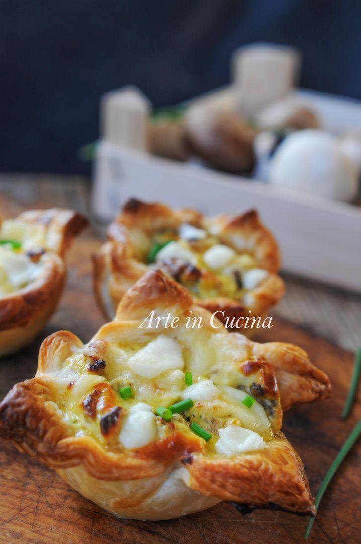 Tortini di sfoglia formaggio e funghi ricetta veloce vickyart arte in cucina