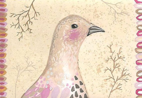 Original ACEO Bird Painting, Whimsical Mistle Thrush Illustration ACEO