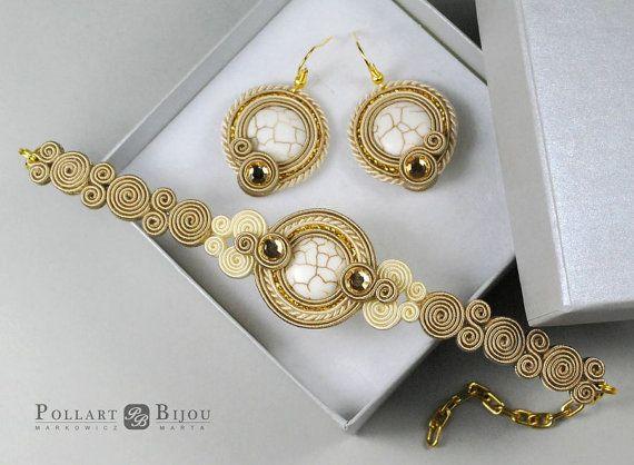Ecru soutache set Orecchini soutache Soutache bilateral Boucles d'oreilles soutache Soutache bracelet and earrings Greece