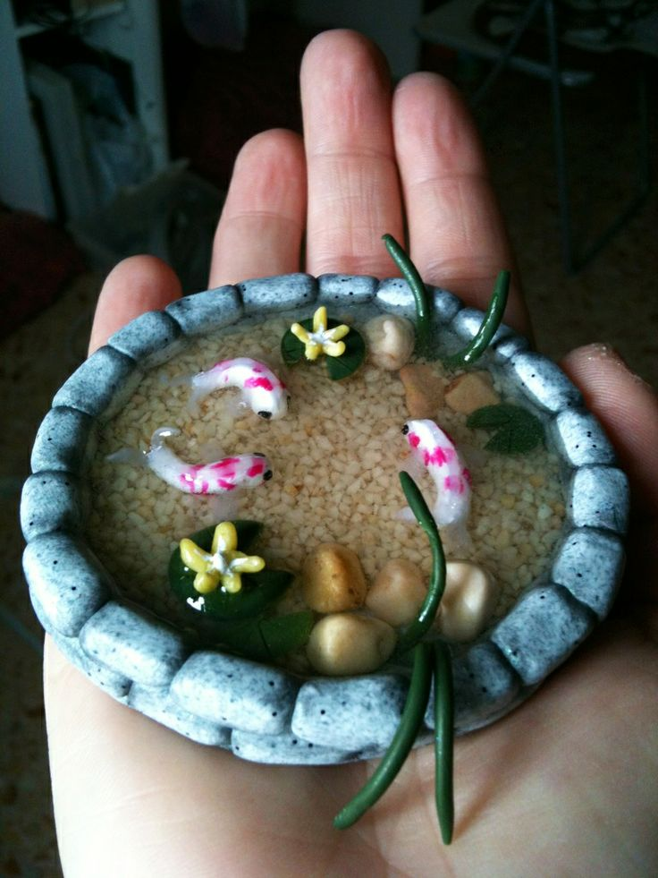 Koi pond polymer clay clay pinterest for Clay fish pond