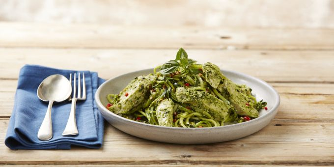Can we say YUM? Poached Chicken and Pesto Zoodles I'm trying to Pin It To Win It! To guarantee a spot on the next I Quit Sugar Program, CLICK THIS IMAGE