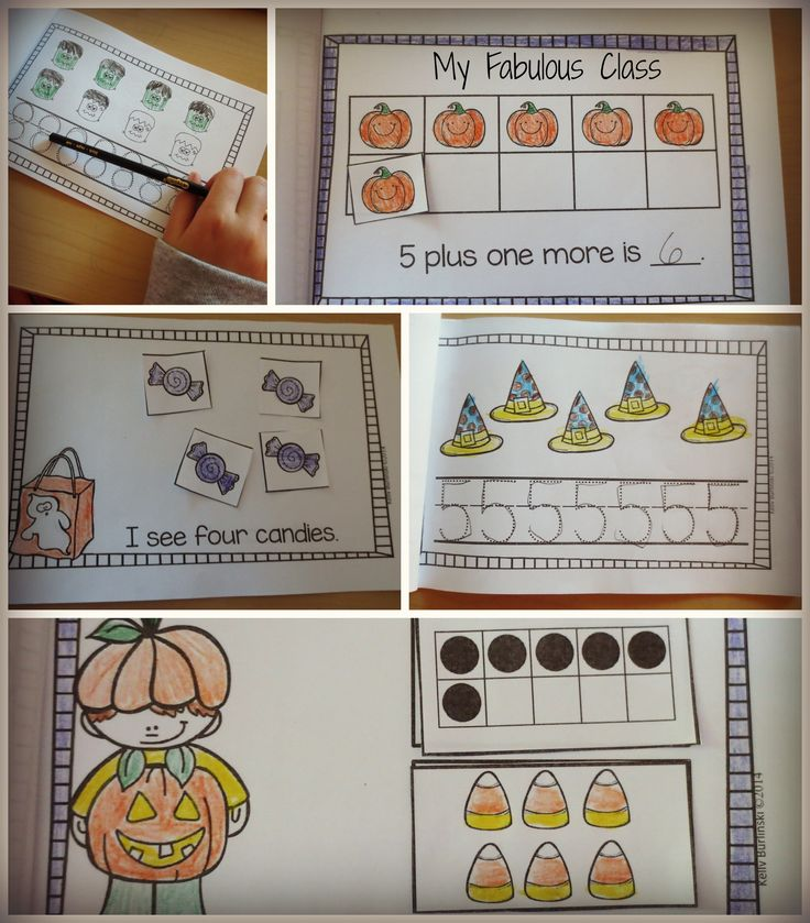 7 interactive math books number sense, number writing, one more, sums of 3, sums of 4, sums of 5. Halloween theme.: