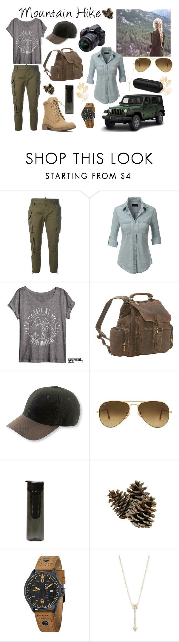 """""""Mountain Hike"""" by kay-hair on Polyvore featuring Dsquared2, LE3NO, Le Donne, L.L.Bean, Ray-Ban, Wrangler, Nikon, AVI-8, EF Collection and Beats by Dr. Dre"""