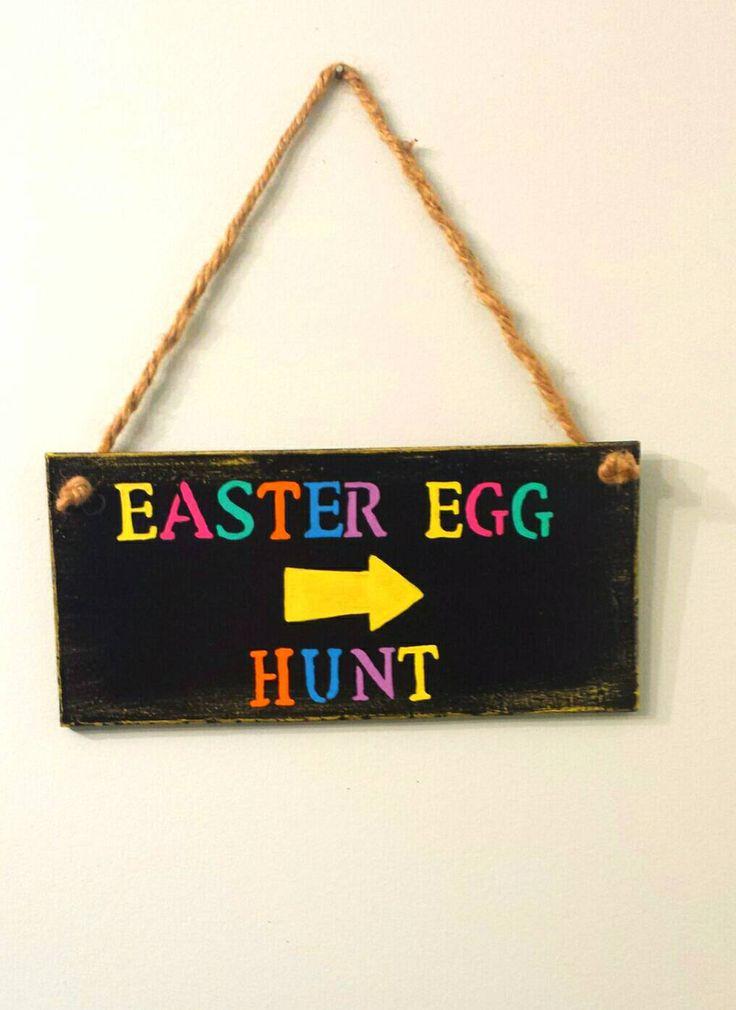 Easter Egg Hunt Sign, Wooden Sign, Egg Hunt, Easter Sign, Easter Eggs, Rustic Sign, Easter Decoration, Rustic Decor, Spring Decor, Easter by BootsAndDirtRoads on Etsy