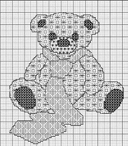 blackwork teddy bear - aupapotagedesdames.over-blog.com                                                                                                                                                                                 Plus