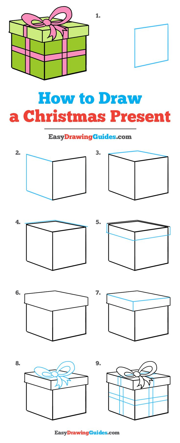 Learn How to Draw a Christmas Present: Easy Step-by-Step Drawing Tutorial for Kids and Beginners. #ChristmasPresent #drawingtutorial #easydrawing See the full tutorial at https://easydrawingguides.com/how-to-draw-christmas-present/.