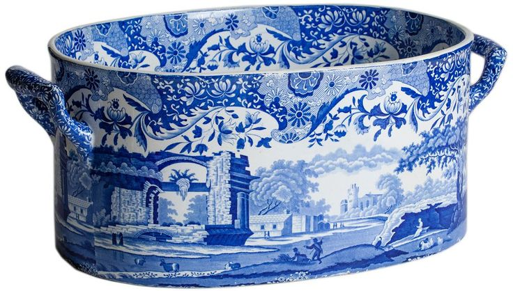 An English Blue and White Transferware Footub circa 1820.: