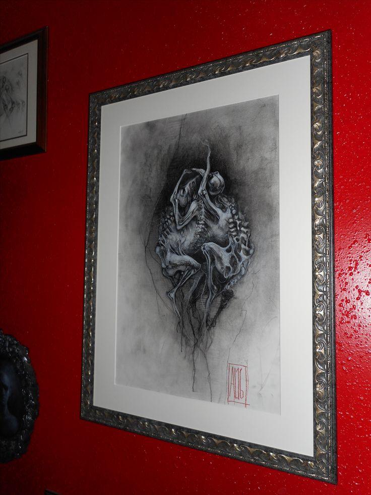 """Aurore Lephilipponnat """" Embryon"""" 32.5x50 cm Fusain, pierre noire sur canson"""