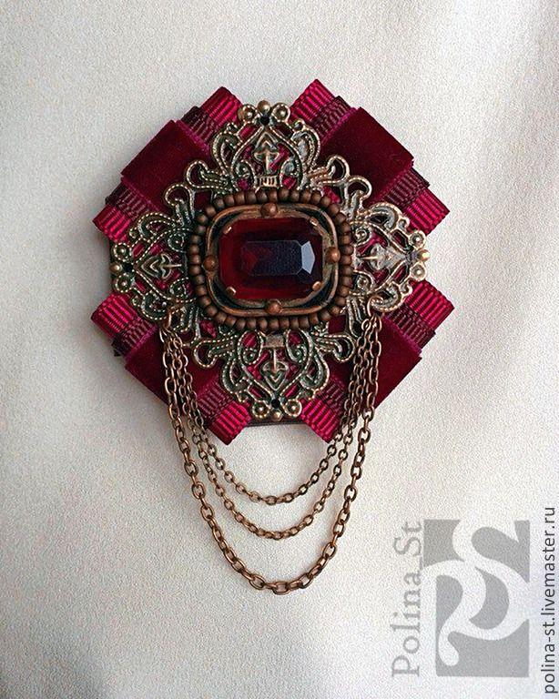 """Купить брошь-орден """"Рубин"""" - бордовый, рубиновый, малиновый, бронза, цепочки, винтажный стиль"""
