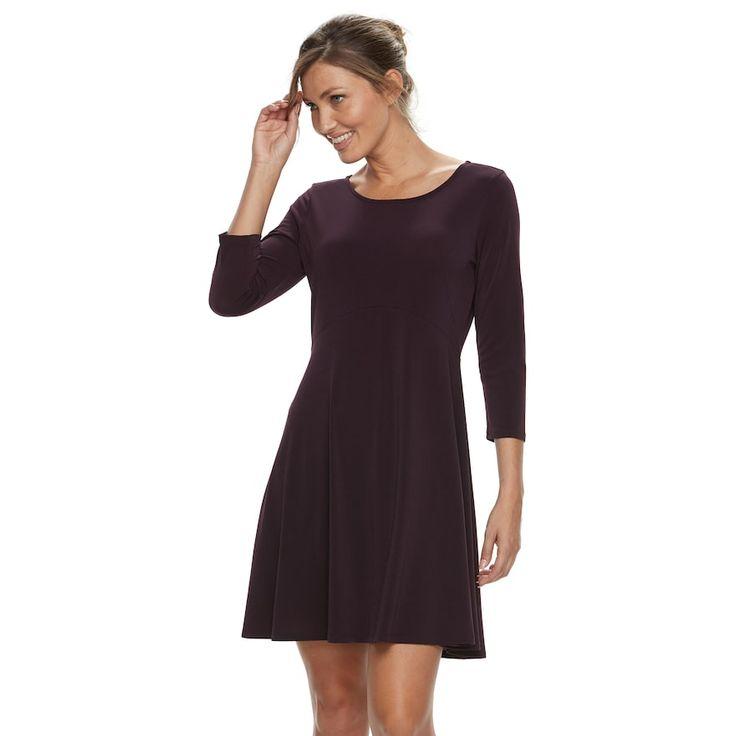 Women's Apt. 9® Pleated Fit & Flare Dress, Purple