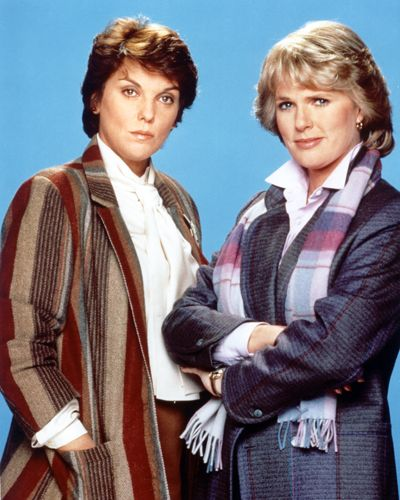 Tyne Daly as Mary Beth Lacey and Sharon Gless as Chris Cagney (Cagney & Lacey)