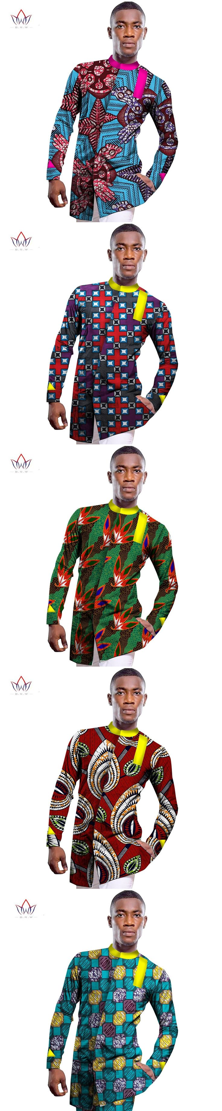 Wholesale 2017 African Shirt For Men Print Wax African Plus Size Custom Full Sleeve Top Dashiki Mens African Clothing WYN234