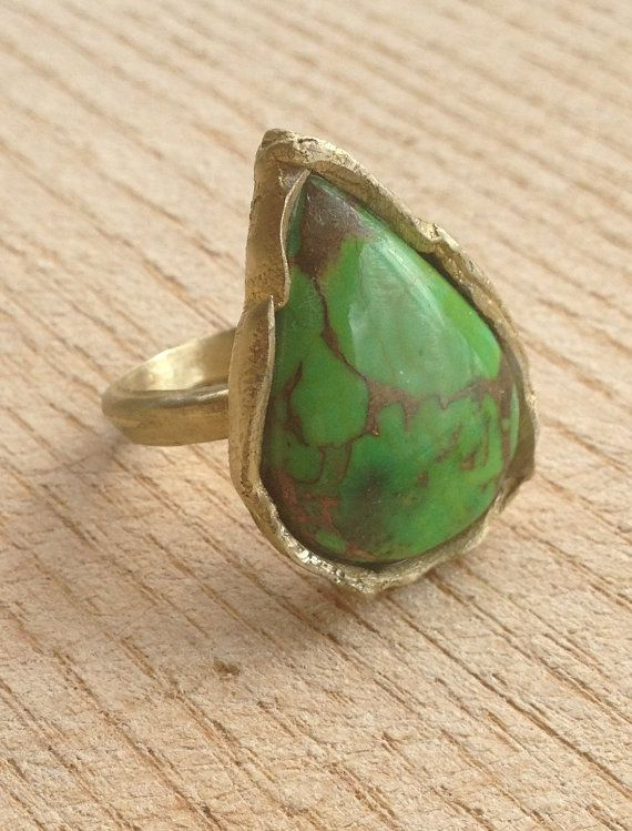 Tibetan spider web copper green turquoise and brass by RingTheRing