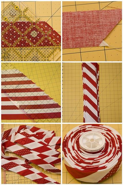 DIY Candy Cane Striped Bias Binding... I can think of so many uses for this trick!