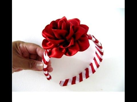 Rosas rojas diadema trenzada en cintas para el cabello - YouTube