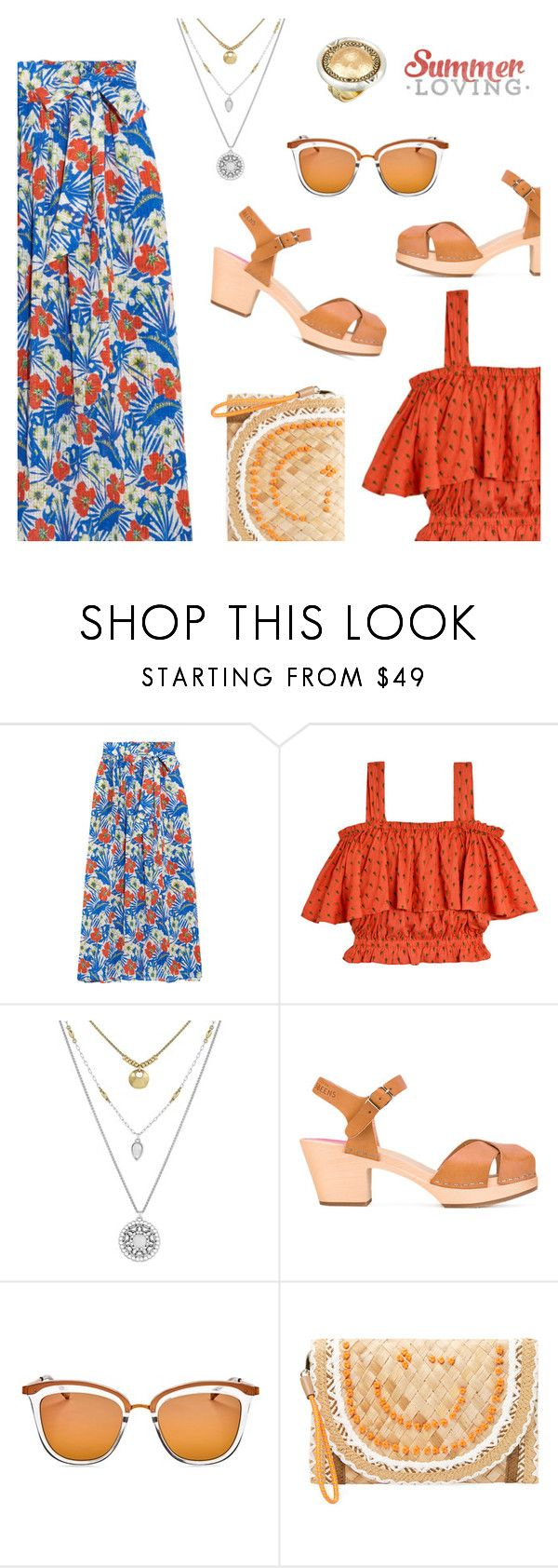 Summer Look by dressedbyrose on Polyvore featuring Samantha Pleet, Etro, Swedish Hasbeens, Anya Hindmarch, House of Harlow 1960, Lucky Brand, Le Specs, Summer and polyvoreeditorial