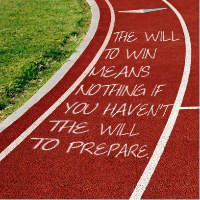 This is what they should do - write inspirational quotes all along the track! And this is what they say on the backs of our running shirts!