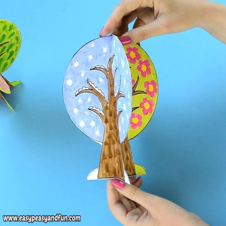 Vier Jahreszeiten Baum Fertigkeit Mit Schablone 2