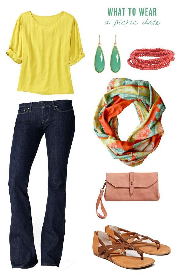 Yellow top / earrings / beaded bracelet / patterned scarf / clutch / sandals