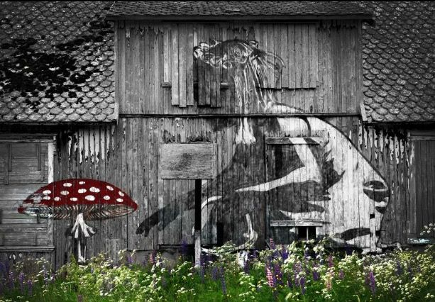 Pøbel & Dolk in Lofoten Island Norway. Street art.